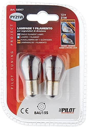 BAU15S02C - PY21W CROMO parpadeante bombilla, Intermitentes, señal de vuelta, flash, indicadores, halógena lámpara, bombilla, Iluminación BAU15S 12V 21W (pines desplazadas)