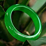Kunze Pulsera de Jade de Jade Natural, Pulsera de calcedonia Verde Esmeralda, Exquisita Pulsera de Dama de Moda, Adecuada para Enviar de Madre a Novia (56-64 mm)