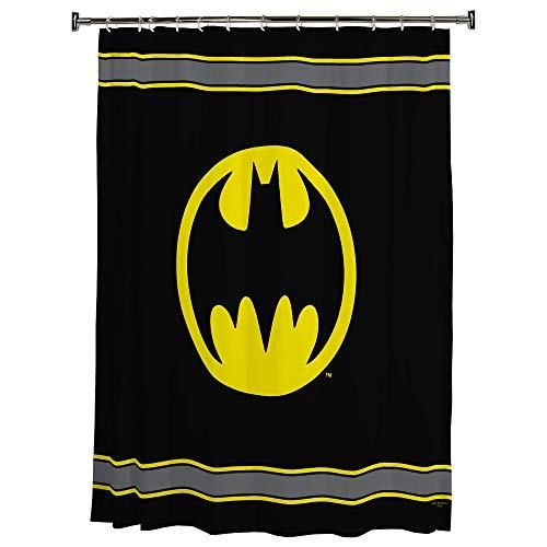 Warner Bros Batman Logo Microfiber Shower Curtain, 70-Inch by 72-Inch
