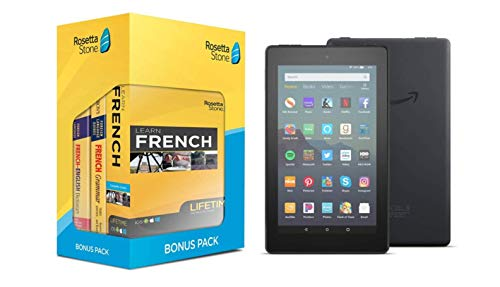 """Learn French: Rosetta Stone Bonus Pack Bundle (Lifetime Online Access + Grammar Guide and Dictionary Book Set) + Fire 7 Tablet (7"""" display, 16 GB)"""