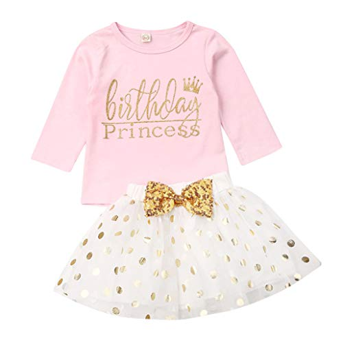 3 Style Baby Girl Gold Letter Print Sleeveless Vest +Gold Sequins Shorts Pants Outfit Set +Bowknot Headband (C-Long Sleeve Pink, 2-3T)