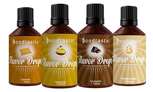 Foodtastic Flavor Drops Creamy Bundle mit 4 Sorten   Flavdrops Aroma Tropfen   Quark, Wasser oder Porridge kalorienfrei Süßen   vegan, glutenfrei und ohne Zucker