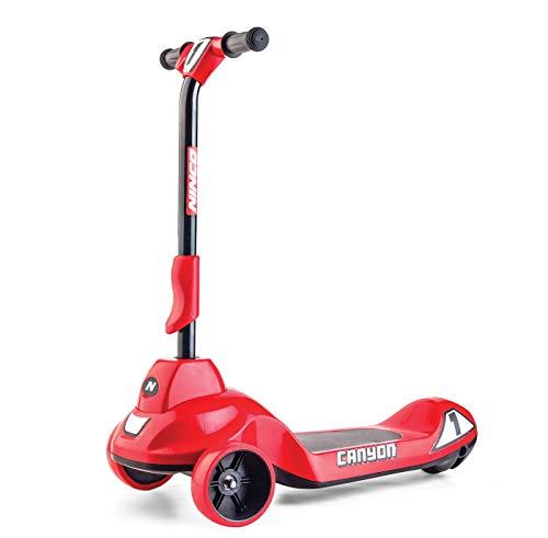 Ninco-NH33017 Ninco Wheel Canyon Red. Patinete eléctrico plegable con control de velocidad. A partir de 3 años. (NH33017), color rojo, 66,5 x 32 x 69,5 cm