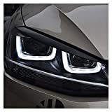 OutdoorKing Faros Cejas para Volkswagen para VW para Golf 7 MK7 para GTI Faros De Coche Párpados De Cejas ABS Cromado Embellecedor Cubierta Pegatina Cejas Cejas Pestañas Faros (Color : Negro)