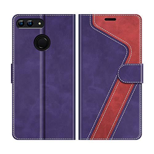 "MOBESV Custodia Huawei P Smart 5,65"" Cellulare, Cover a Libro Huawei P Smart, Custodia in Pelle Huawei P Smart Magnetica Cover per Huawei P Smart, Viola/Rosso"