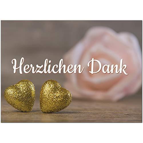 15 x Dankeskarten mit Umschlag - 2 goldene Herzen mit Rose - Danksagungskarten, Danke sagen, nach Hochzeit, Geburt, Baby, Taufe, Geburtstag, Kommunion, Konfirmation, Jugendweihe