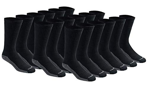 Dickies Men's Dri-tech Moisture Control Crew Socks Multipack, Black (18 Pairs), Shoe Size: 6-12