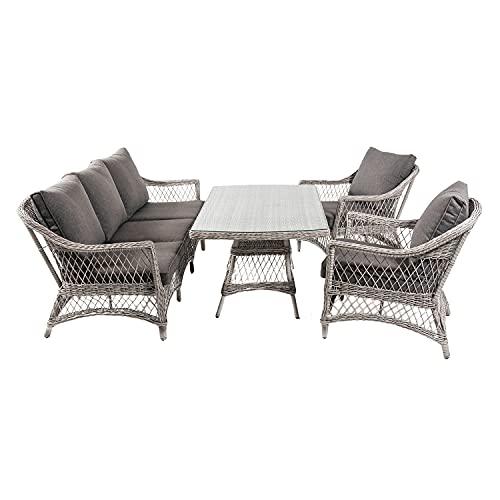 Conjunto sofás de jardín, Mesa Centro 140 cm, 2 butacas y 1 sofá 3 plazas, Color Gris, Aluminio y rattán sintético Abierto Redondo, 5 plazas