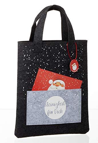 Filztasche mit Grußkarte - Filzbeutel mit Reißverschluß - Kosmetiktasche - Wichtelgeschenk