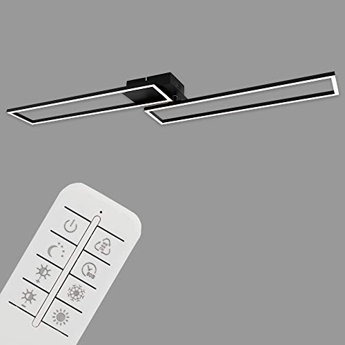 Briloner Leuchten LED Deckenleuchte, Deckenlampe dimmbar, Fernbedienung, Farbtemperatursteuerung, inkl. Nachtlichtfunktion und Timer, Schwarz, 1100 x 248 x 78mm (LxBxH) 3145-015