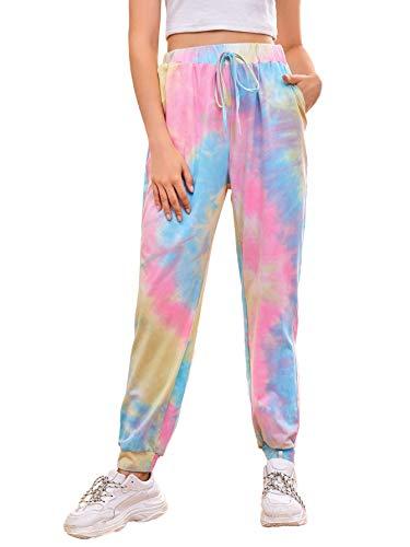 SweatyRocks Women's Pants Tie Dye Casual Elastic Waist Yoga Jogger Sweatpants Multicoloured Large