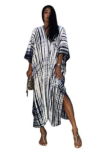 Tunique Longue Femme été Grande Taille Hippie Chic Robe Degrade Caftan Indien Africain Kaftan Long Kimono Ethnique Cache Maillot de Bain Poncho Tie Dye Pareo Plage Bikini Cover Up ZSCPDN0007WH