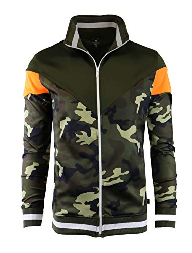 SCREENSHOT-F11005 Mens Urban Hip Hop Premium Track Jacket - Slim Fit Side Taping Animal Camouflage Pattern Urbanwear Fashion Top-Woodland-Large