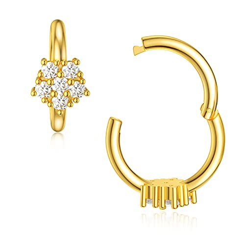 SISGEM 14K Real Gold Flower Nose Ring Stud with Sparkly Cubic Zirconia,1 PC Yellow Gold Small Hoop Earring Nose Ring Fine Jewelry Gift for Mother's Day Birthday,18 Gauge(2 in 1)