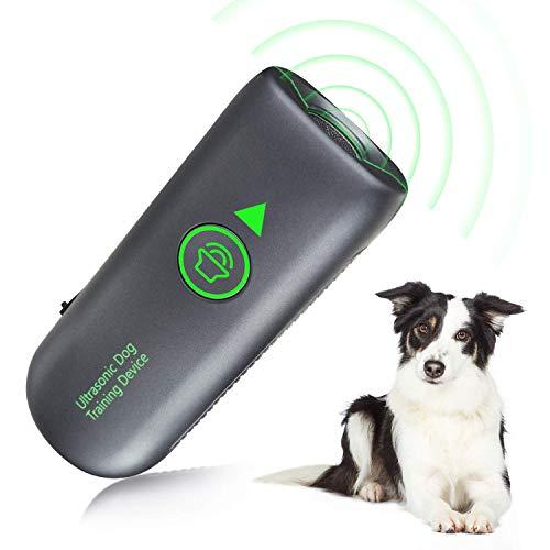 Queenmew Dispositivo Antiladridos, Ultrasónicos Dispositivo Antiladrido para Perro, Collar Control Antiladridos Entrenamiento Perros Pequeños a Grandes, Rango Efectivo 5M