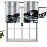 Hiiiman Cortinas para tratamientos de ventana con ojales en la parte superior del automóvil, juego de 1, 137 x 45 cm, paneles opacos decorativos para el hogar para cocina