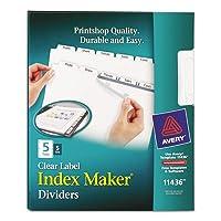 インデックスメーカークリアラベルディバイダー、5-tab、手紙、ホワイト、5セット/パック、合計10pk , Sold as 1カートン