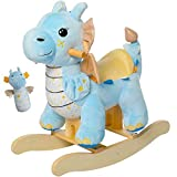 labebe - Baby Rocking Horse, Child Blue Winged Dragon Rocker, Toddler Ride on Toys for Kid 1-3 Years Old, Wooden Rocking Chair Animal for Girl&Boy
