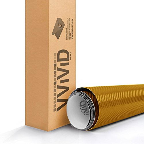 VViViD XPO Dry Carbon Fiber Gold Vinyl Wrap Roll with Air Release Technology (1ft x 5ft)