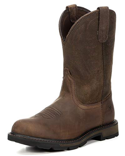 Ariat Pull Groundbreaker Round Toe Men's Safety, Wide Calf, Work Boots, Brown