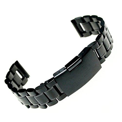 luoem acero inoxidable reloj banda correa recta final sólido enlaces pulsera correa de reloj 24mm (color negro)
