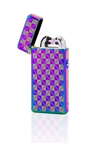 TESLA Lighter TESLA Lighter T08 Lichtbogen Feuerzeug, Plasma Double-Arc, elektronisch wiederaufladbar per USB, ohne Gas und Benzin, mit Ladekabel, in edler Geschenkverpackung, kariert Regenbogen Regenbogen