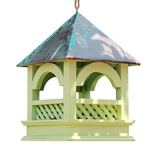 KSTORE Comederos De Aves, Cobre Techo Gazebo De Madera Retro Decoración del Jardín Aves Alimentador De Aire Libre, Jardín Y Patio Trasero Patio,Verde