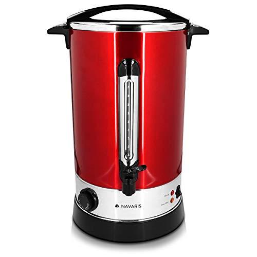 Navaris Hervidor de agua electrico de 15L con grifo - Dispensador de bebidas calientes con termostato - Olla electrica para te cafe y vino - rojo