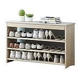 hsj Zapatero para el hogar, de madera maciza, mueble de bambú, taburete de almacenamiento, respetuoso con el medio ambiente y duradero (color: color de madera, tamaño: 3 capas-60 cm)