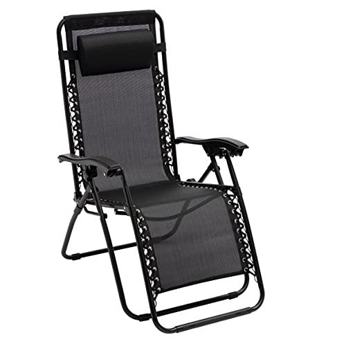 Baroni Home Butaca Tumbona plegable reclinable Relax Lounger Zero Gravity Textilene 90x65x110cm Negro
