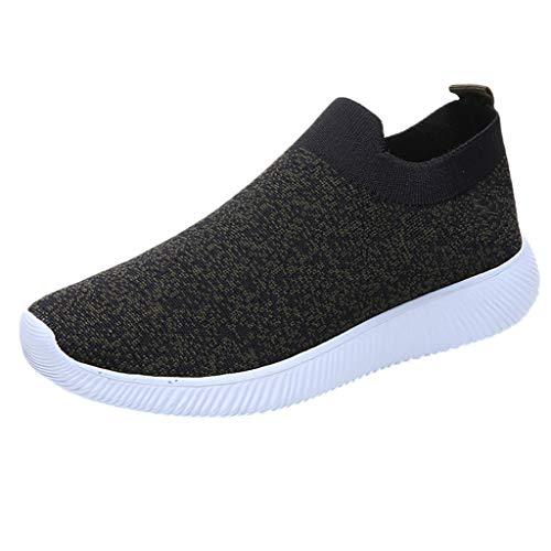 MRULIC Damen Laufschuhe Outdoor Mesh Lässige Sportschuhe Atmungsaktive Schuhe Turnschuhe Sneakers Leichte Gestrickte Schuhe Racer Fitnessschuhe (Schwarz,EU-37/CN-38)