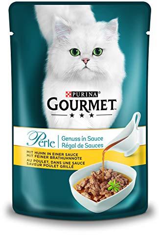 PURINA GOURMET Perle Genuss in Sauce Katzenfutter nass, mit Huhn, 24er Pack (24 x 85g)