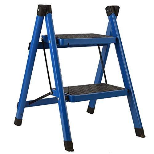 WHOJA Escalera De Acero de 2 Escalones Pasos y pies Antideslizantes Taburete de Cocina portátil Capacidad de 330 LB Ligera y Resistente (Color : Blue)