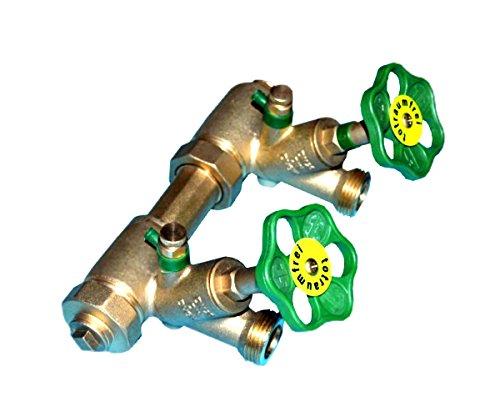Schlösser Kompakt Verteiler DN25-2 Abgänge DN20-Wasserverteiler inkl. 2 x Rohrschelle und 2 Stockschraube