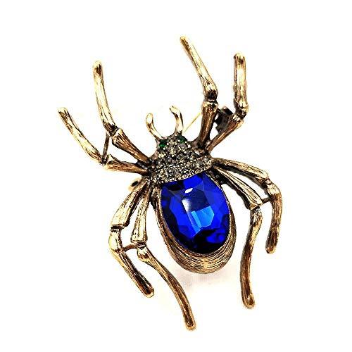 NZBZ Aspecto Vintage, Patas Doradas, Cristal Negro, Cabeza pavimentada, Piedra Azul, alfiler de araña y Broche, bisutería de Bruja para el Festival de Halloween