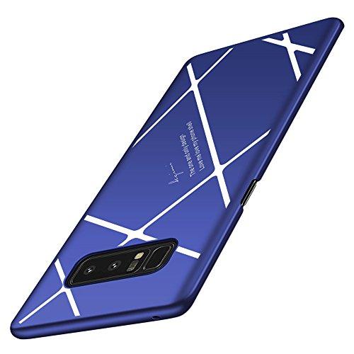 Samsung Galaxy Note 8 ケース 耐衝撃 超薄 軽量 PC 360度全面保護 保護カバー 薄型 スマホケース おしゃれ かっこいい YURI-shop (Samsung Galaxy Note 8, ブルーサファイア+ホワイト)