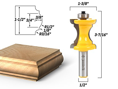 Yonico 13100 1-1/2-Inch Bullnose & Cove Bullnose and Cove Furniture Trim & Molding Router Bit 1/2-Inch Shank