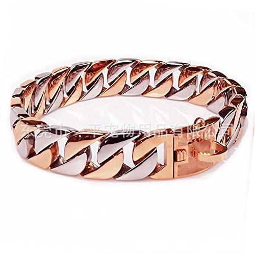 Collar para mascotas con cadena de 32 mm de acero inoxidable Bulldog Pitbull Pet 70 / 75 cm / 80 cm de longitud - Collar de plata rosa _XXXL 32 mm x 65 cm