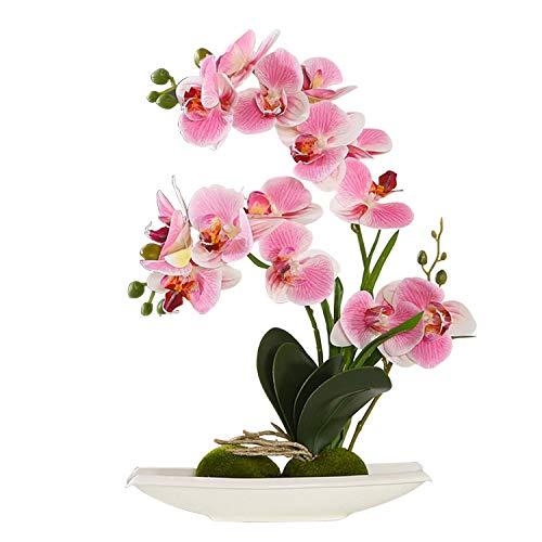 ENCOFT Kunstpflanze orchideen Künstliche Blumen aus Eva Wohndeko Kunstbulme mit Übertopf Garten Balkon Wohnzimmer Hochzeit(37cm, Pink 1)