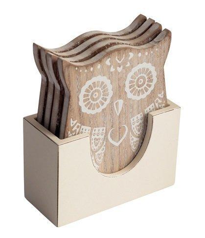 The Wishing Tree Untersetzer im Shabby-Chic-Stil, gekalkt, Holz, bedruckt, Eulenform, in Antik-Weiß