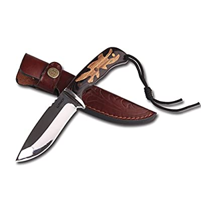 Fixed Blade Knife Hunting Knife With Leather Sheath Bowie Knife Wood Handle Gift Box Gift Friends,Dad,Brother,Boss,Boyfriend,Husband LUTAVOY OK1D