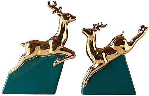 Scultura,Minimalista Moderno Feng Shui Statua Di Cervo Decorazione Luce Dorata Cervo In Ceramica Di Lusso Soggiorno Armadietto del Vino Ufficio Desktop Di Casa Ornamento Di Cervi Fortunati