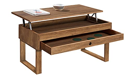 Vanir - Mesa de Centro Elevable Cajón Deslizante, Diseño Industrial-Vintage, Madera Maciza Natural. Medidas: 100x50x47 cm