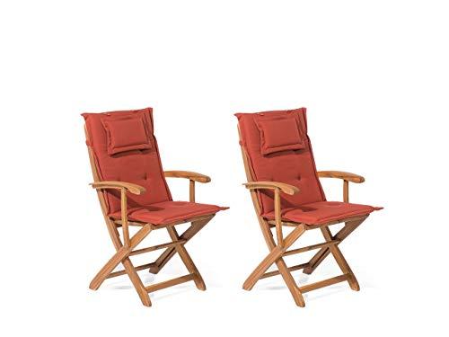 Conjunto de 2 sillas de Madera de Acacia con cojín en Terracota MAUI