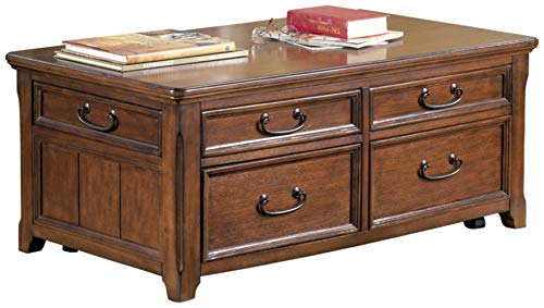 Signature Design by Ashley Woodboro Lift Top Cocktail Table Dark Brown Finish