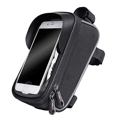 GHJU Bike Saddle Bag Bike Seat Bag- Cycling Tube Bag Bicycle Luggage Bag Road Bike Bag Bike Frame Bag with Phone Case (Color : Black, Size : One Size),Size:One Size,Colour:Black qingqiao