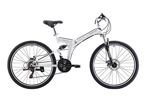 KESPOR Rocky Folding Mountain Bike 26' Shimano 21 Speed Dual Suspension MTB (White)