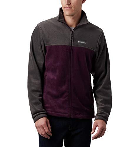 Columbia Men's Steens Mountain Full Zip 2.0 Soft Fleece Jacket, Shark, Black Cherry, X-Large