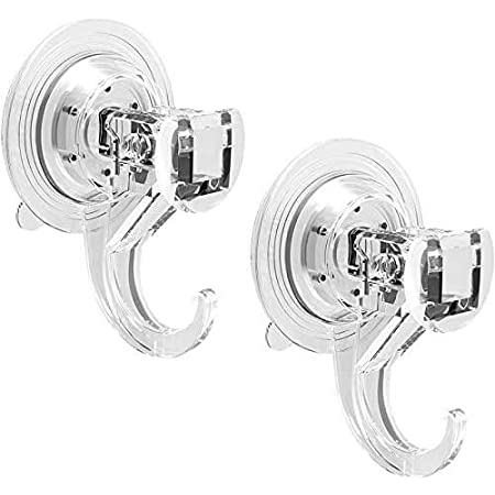 Quntis Suction Hooks 2 Packs Powerful Push and Lock Vacuum Multi-Purpose Suction Hanger Strong Suction Cup Holds Up to 3kg for Kitchen and Bathroom