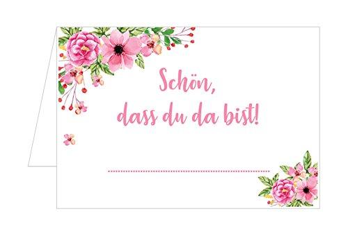 Edition Seidel Set di 100 segnaposto di alta qualità, segnaposto per matrimonio, compleanno, battesimo, comunione, cresima, cresima, festa di gioventù, anniversario, (fiori rosa, 100 carte)